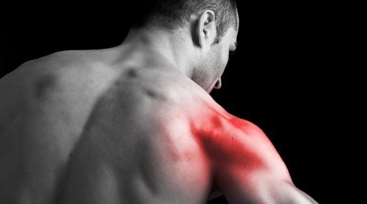 shoulder pain targeted photo of a man